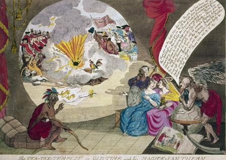 The Tea-Tax Tempest, or the Anglo-American Revolution.' English cartoon by W. Humphreys, 1783, after the 1778 original, referring the the Boston Tea Party of 1773
